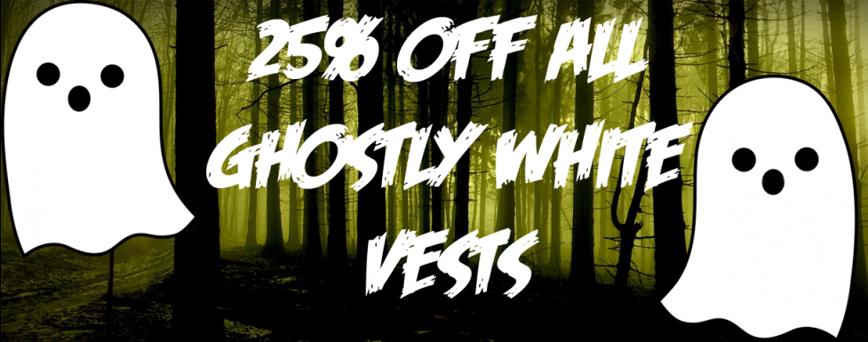 Halloween 25% off White Popper Vests for disabled children and Adults